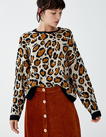Fashion Brown Leopard Pattern Decorated Sweater