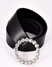 Fashion Black Diamond Decorated Pure Color Belt