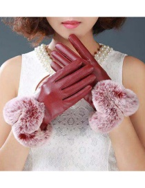 Fashion Claret Red Fur Decorated Pure Color Gloves