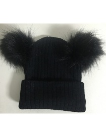 Fashion Black Pom Ball Decorated Pure Color Hat