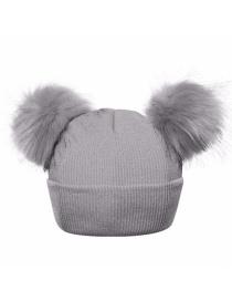 Fashion Gray Pure Color Decorated Pom Ball Hat