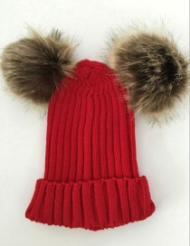 Fashion Red Pom Ball Decorated Hat