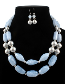 Fashion Blue Pearls&beads Decorated Jewelry Sets