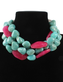 Fashion Green Stone Shape Design Multi-layer Necklace