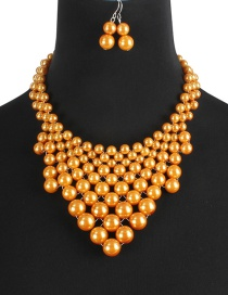 Fashion Yellow Pearls Decorated Pure Color Jewelry Sets