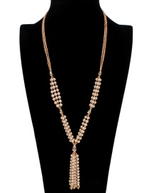 Fashion Coffee Tassel Decorated Long Necklace