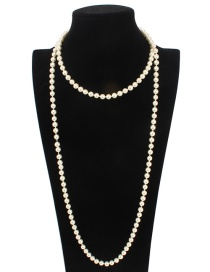 Fashion Beige Pure Color Decorated Long Necklace