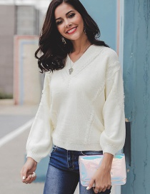 Fashion White V Neckline Design Pure Color Sweater