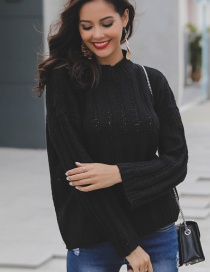 Fashion Black Pure Color Design Long Sleeves Sweater