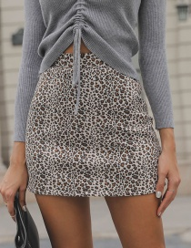 Fashion Brown Leopard Pattern Design Simple Skirt