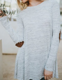 Fashion Gray Round Neckline Design Long Sleeves Blouse