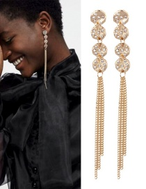 Fashion Gold Color Round Shape Design Long Tassel Earrings