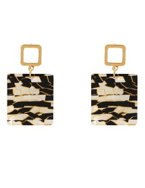 Fashion White+black Square Shape Design Simple Earrings
