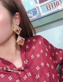 Fashion Gold Color Square Shape Decorated Earrings