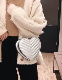 Fashion Silver Color Heart Shape Decorated Shoulder Bag