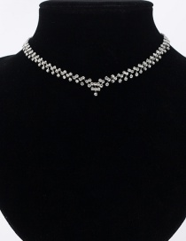 Fashion Silver Color Full Diamond Design Pure Color Choker