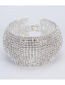 Fashion Silver Color Full Diamond Design Pure Color Bracelet