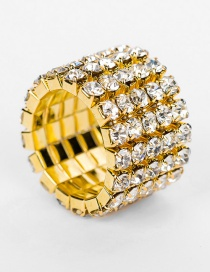 Fashion Gold Color Multi-layer Diamond Design Ring