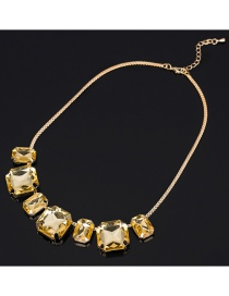 Fashion Yellow Pure Color Design Square Shape Necklace