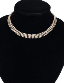 Fashion Gold Color Diamond Decorated Pure Color Choker