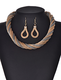 Fashion Gray+gold Color Multi-layer Design Simple Jewelry Sets