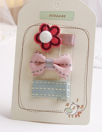Lovely Red+blue Flowers&bowknot Decorated Hair Clip(3pcs)