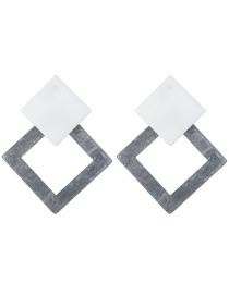 Vintage Gray Square Shape Design Simple Earrings