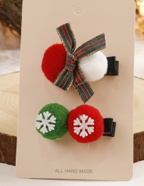 Lovely Red+white Fuzzy Ball&bowknot Decorated Hairpin(2pcs)