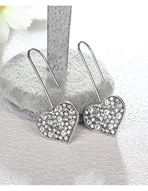 Fashion Silver Color Heart Shape Design Long Earrings