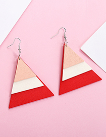 Fashion Red+beige Triangle Shape Design Simple Earrings