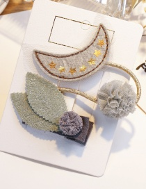 Fashion Gray Leaf Shape Decorated Hair Clip(2pcs)