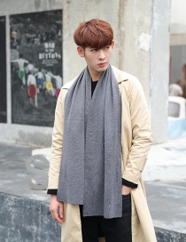Fashion Gray Pure Color Decorated Knitted Men's Scarf