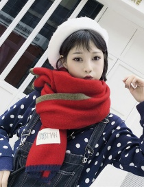 Fashion Claret Red Label Decorated Thicken Long Scarf