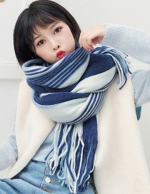 Fashion Navy+white Stripe Pattern Decorated Tassel Scarf
