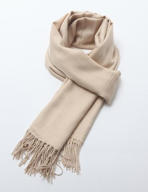 Fashion Beige Tassel Decorated Pure Color Scarf