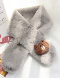 Fashion Gray Bear Shape Decorated Child Scarf