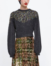 Fashion Dark Gray Sequins Decorated Round Neckline Sweater