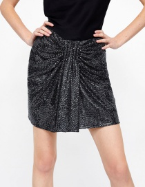 Fashion Black Sequins Decorated Pure Color Skirt
