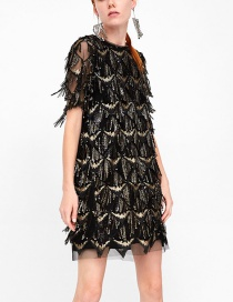 Fashion Black Tassel Decorated Short Sleeves Dress