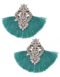 Fashion Pale Blue Diamond Decorated Tassel Earrings