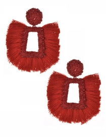 Fashion Red Tassel Decorated Hollow Out Earrings