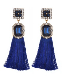 Fashion Sapphire Blue Square Shape Diamond Design Tassel Earrings