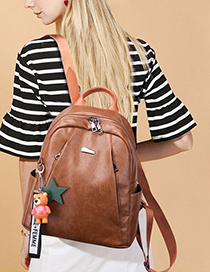 Trendy Light Brown Zippers Decorated Backpack Without Pendant