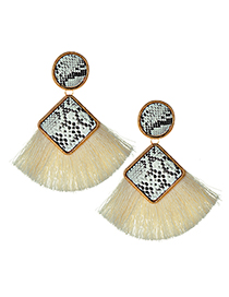 Elegant White Snake Pattern Design Tassel Earrings
