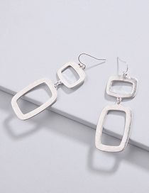 Fashion Silver Color Square Shape Decorated Pure Color Earrings