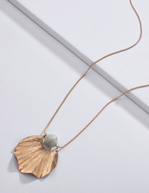 Fashion White Leaf Shape Pendant Decorated Necklace