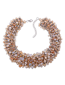 Fashion Champagne Full Bead Decorated Pure Color Necklace