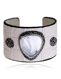 Fashion White Diamond Decorated Opening Bracelet
