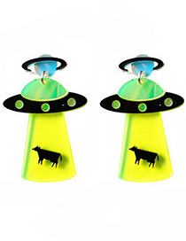 Fashion Yellow Spaceship Shape Decorated Earrings