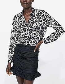 Fashion Black+white Leopard Pattern Decorated Blouse